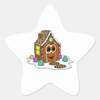 Dibujo animado de la casa del pan del jengibre pegatina en forma de estrella