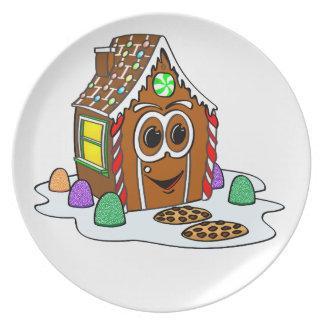Dibujo animado de la casa del pan del jengibre plato
