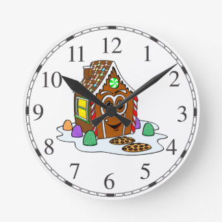Dibujo animado de la casa del pan del jengibre reloj redondo mediano