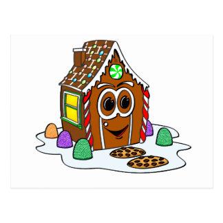 Dibujo animado de la casa del pan del jengibre tarjeta postal
