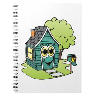 Dibujo animado de la casa verde spiral notebook