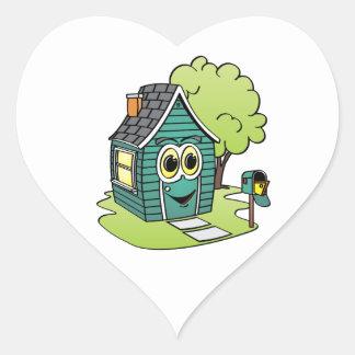 Dibujo animado de la casa verde pegatina en forma de corazón