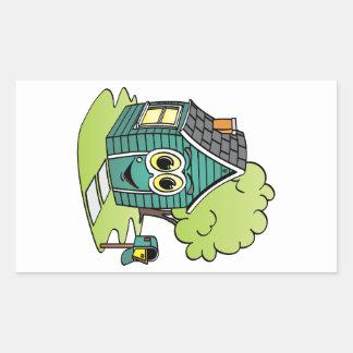 Dibujo animado de la casa verde pegatina rectangular