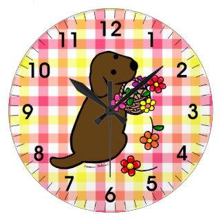 Dibujo animado de la cesta de la flor del perrito  reloj redondo grande