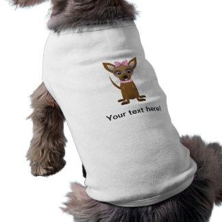 Dibujo animado de la chihuahua playera sin mangas para perro