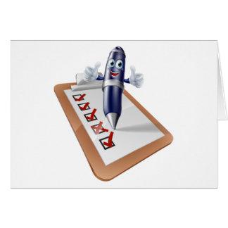 Dibujo animado de la encuesta sobre tablero de tarjetas