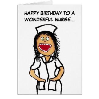 Dibujo animado de la enfermera del feliz cumpleaño felicitacion