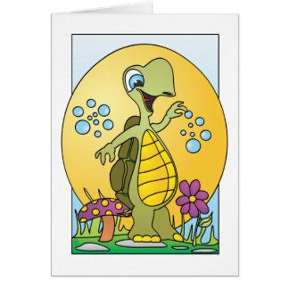 Dibujo animado de la escena de la tortuga tarjeta de felicitación