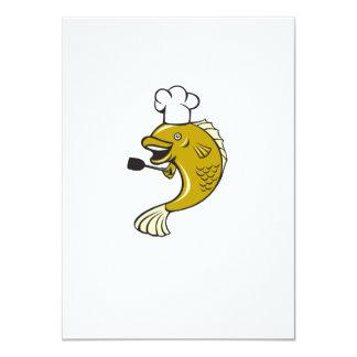 Dibujo animado de la espátula de los pescados de invitación 11,4 x 15,8 cm
