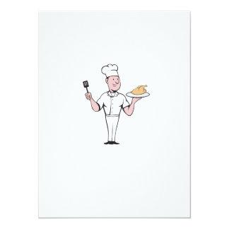 """Dibujo animado de la espátula del pollo asado del invitación 5.5"""" x 7.5"""""""
