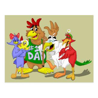 Dibujo animado de la familia de pájaro postal