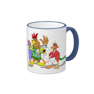 Dibujo animado de la familia de pájaro taza