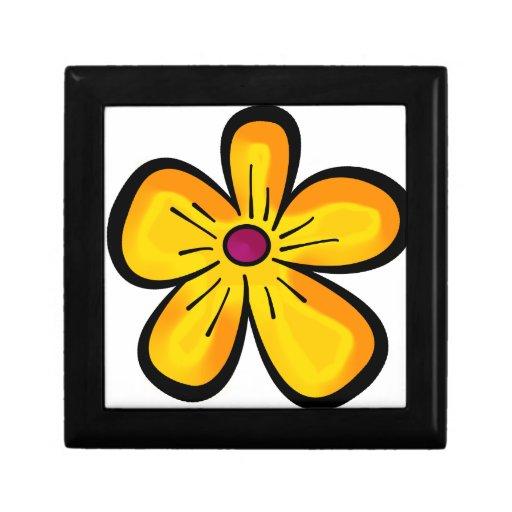 Dibujo animado de la flor caja de joyas