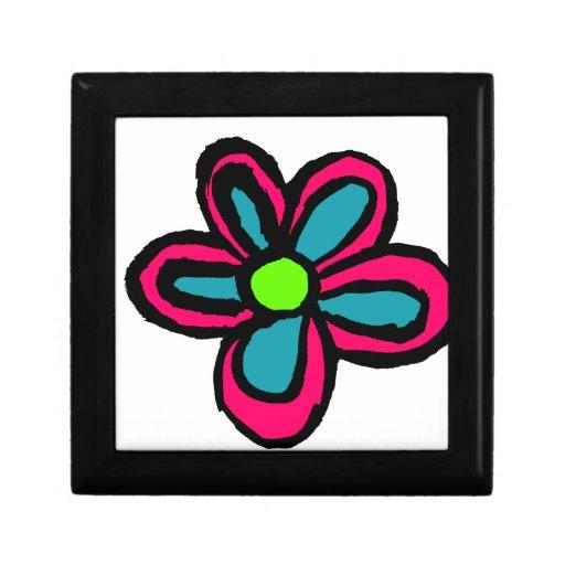 Dibujo animado de la flor caja de regalo