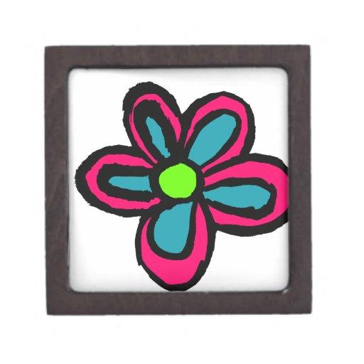 Dibujo animado de la flor cajas de recuerdo de calidad