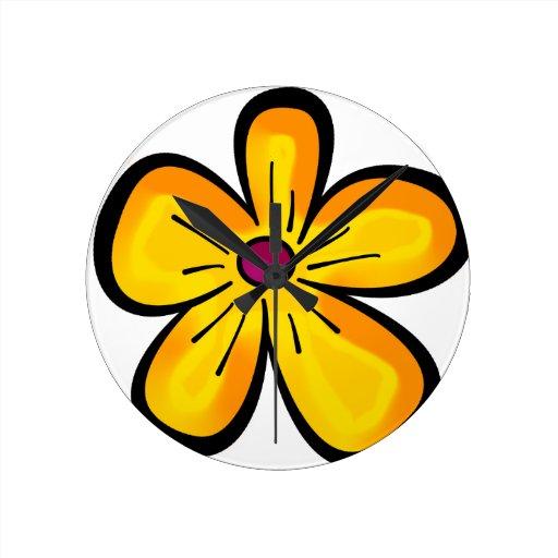 Dibujo animado de la flor reloj redondo mediano