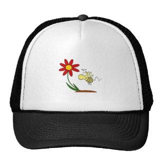 Dibujo animado de la flor y de la abeja gorras de camionero