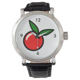 Dibujo animado de la fruta del rojo cereza de relojes de mano