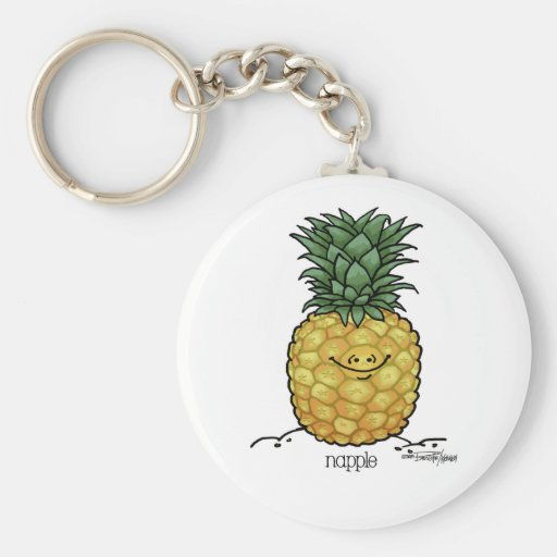 Dibujo animado de la fruta - fruta de la piña llaveros personalizados