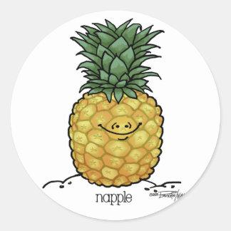 Dibujo animado de la fruta - fruta de la piña etiqueta redonda
