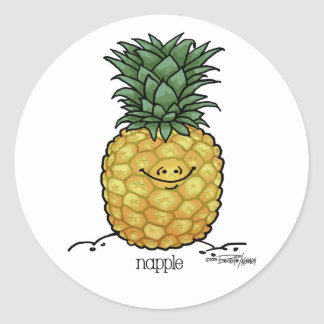 Dibujo animado de la fruta - fruta de la piña pegatinas redondas