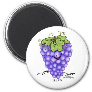 Dibujo animado de la fruta - uvas imán para frigorífico