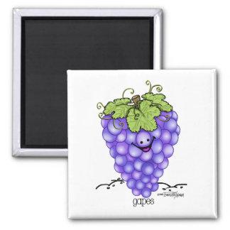 Dibujo animado de la fruta - uvas iman de nevera