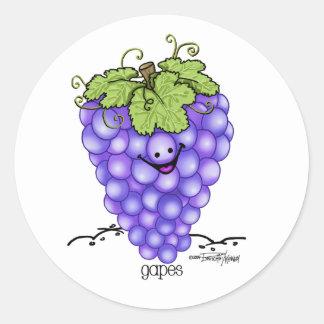 Dibujo animado de la fruta - uvas etiqueta redonda