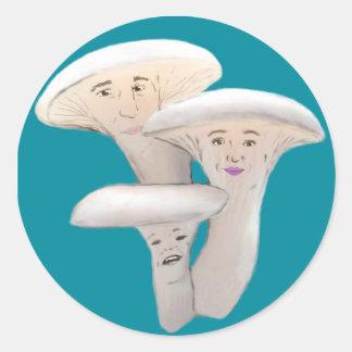 Dibujo animado de la gente de la seta de ostra pegatina redonda