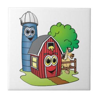 Dibujo animado de la granja del caballo de Silo Azulejo Cuadrado Pequeño