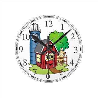 Dibujo animado de la granja del caballo de Silo Reloj Redondo Mediano