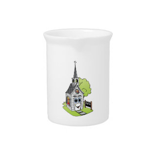 Dibujo animado de la iglesia jarras