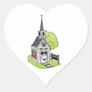 Dibujo animado de la iglesia pegatina en forma de corazón