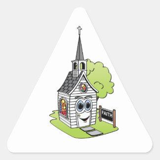 Dibujo animado de la iglesia pegatina triangular