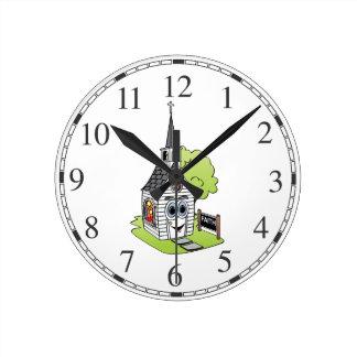 Dibujo animado de la iglesia reloj redondo mediano