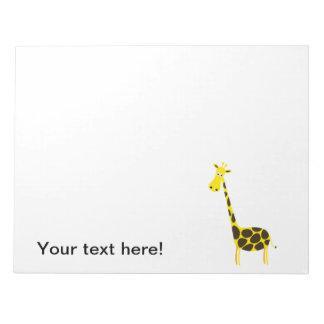 Dibujo animado de la jirafa bloc de notas