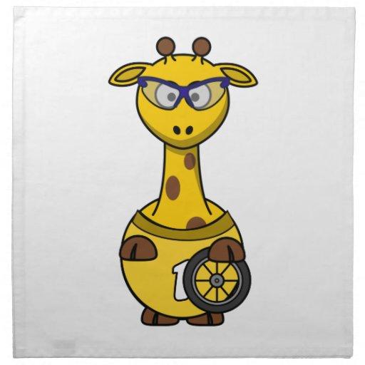 Dibujo animado de la jirafa del ciclista servilleta