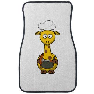 Dibujo animado de la jirafa del cocinero del Bbq Alfombrilla De Auto
