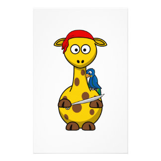 Dibujo animado de la jirafa del pirata papeleria personalizada