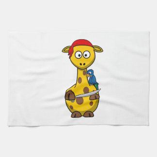 Dibujo animado de la jirafa del pirata toallas de cocina