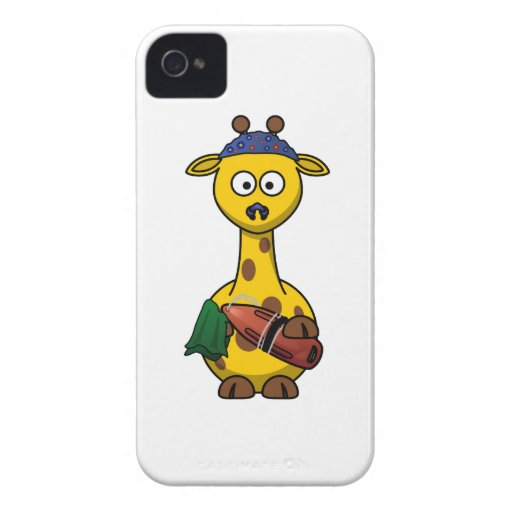 Dibujo animado de la jirafa del salvavidas iPhone 4 Case-Mate protector