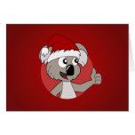 Dibujo animado de la koala del navidad tarjetón