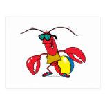 dibujo animado de la langosta de la playa que va d postales