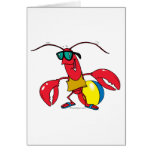 dibujo animado de la langosta de la playa que va tarjeta de felicitación