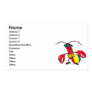 dibujo animado de la langosta de la playa que va tarjetas de visita