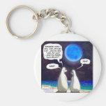 Dibujo animado de la luna azul del oso polar llavero personalizado