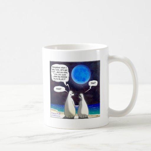 Dibujo animado de la luna azul del oso polar tazas de café