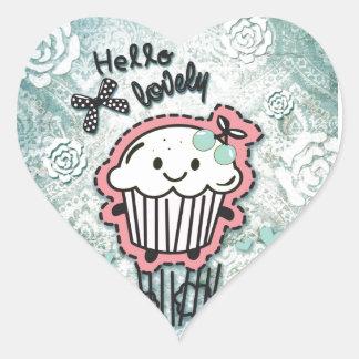 ¡Dibujo animado de la magdalena en el damasco Pegatina En Forma De Corazón