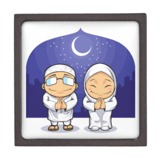 Dibujo animado de la mujer musulmán el Ramadán de  Cajas De Joyas De Calidad