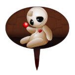 Dibujo animado de la muñeca del vudú en amor figuras de tarta
